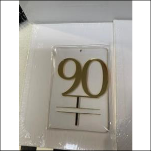 Gold Number 90 Acrylic Topper