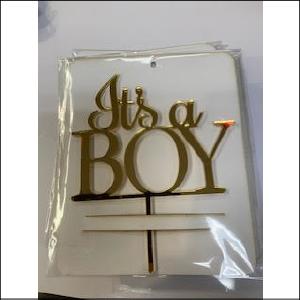 Gold It's a Boy Acrylic Topper