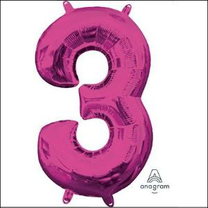 Anagram Pink Number 3 Foil Balloon 86cm