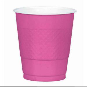 Bright Pink Plastiic Cups 355ml 20pk