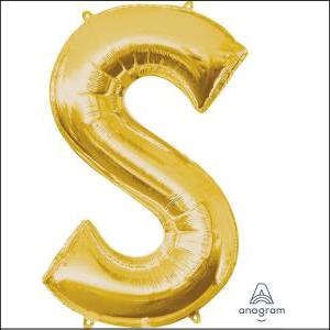 Gold S Foil Balloon 35cm