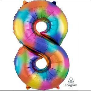 Rainbow Number 8 86cm Foil Balloon