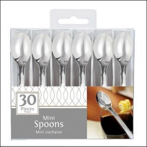 Mini Silver Plastic Spoons Pk 30