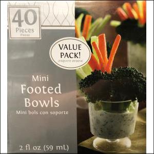 Mini Clear Plastic Footed Bowls Pk 40