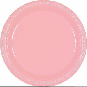 New Pink Plastic Round Plate 22.9cm pk20