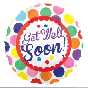 Get Well Soon Dots 45cm Foil Balloon