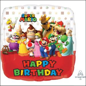 Foil 43cm Super Mario Happy Birthday