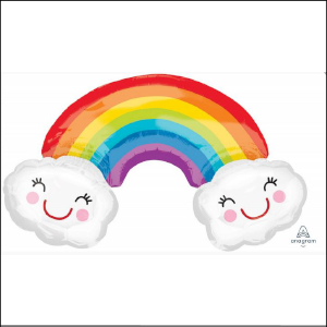 Super Foil Rainbow Smiling Clouds 93cm