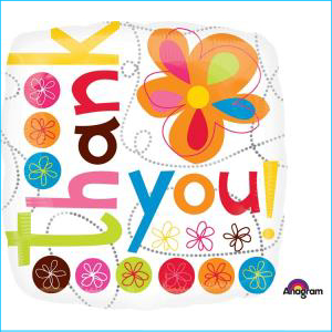 Thank You Colourful Flowers Foil Balloon