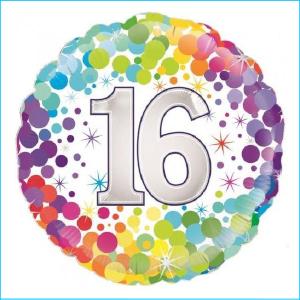 Foil 45cm Age 16 Colourful Confetti