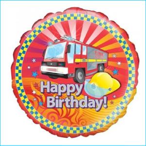 Foil 45cm Fire Truck HBD & Hat