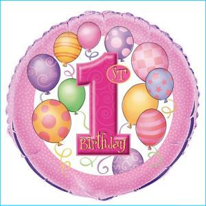 1st Birthday Girls Foil Balloon 45cm