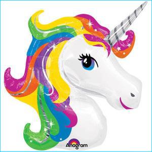 Rainbow Unicorn Head Supershape Foil Bal