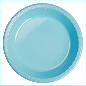 Premium Light Blue Plastic Dinner Plates
