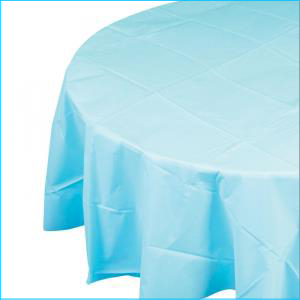 Light Blue Round Plastic Tablecover 213c