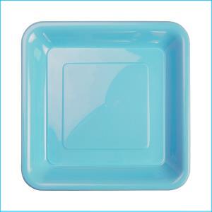 Premium L Blue Square Snack Plates Pk20