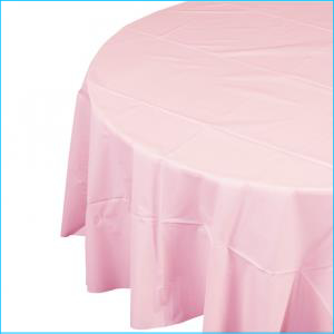 Light Pink Round Plastic Tablecover 213c