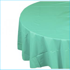 Turquoise Round Plastic Tablecover 213cm