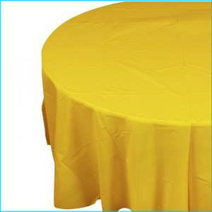 Yellow Round Plastic Tablecover 213cm