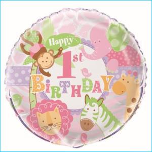 Pink Safari 1st Birthday Party Foil Ball