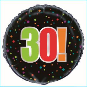 Birthday Cheer 30th Foil Balloon 45cm