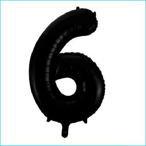 Foil 86cm Black Number 6 Meteor
