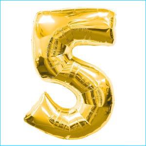 Number 5 Gold Supershape 86cm