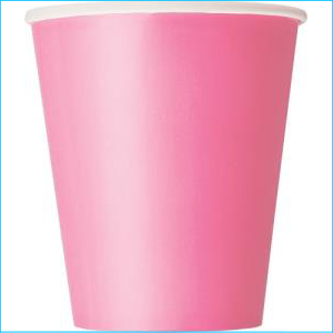 Hot Pink Paper Party Cups Pk 8