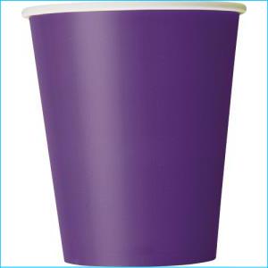 Purple Paper Party Cups Pk 8