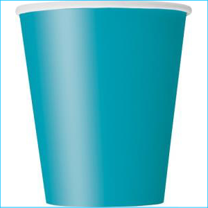 Turquoise Paper Party Cups Pk 8