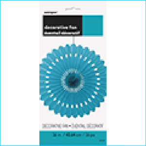 Decorative Fan Turquoise 40.64cm Pk 1