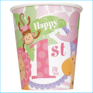 Pink Safari 1st Birthday Party Cups Pk 8