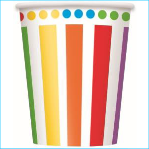 Rainbow Party Cups Pk 8