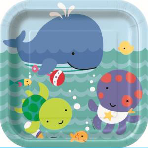 Under the Sea Party Square Plates Pk 8