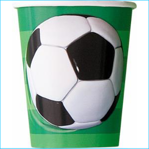 3D Soccer Party Cups Pk 8
