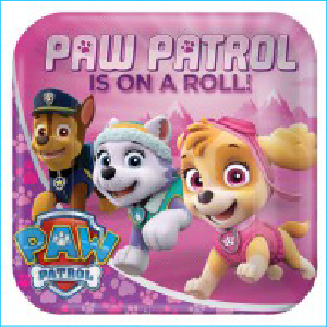 Paw Patrol Girls Square Plate 9""