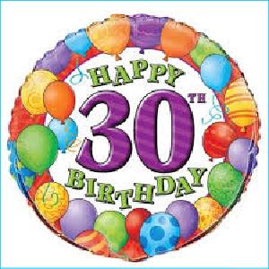 30th Balloons Foil Balloon 45cm