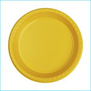 Premium Yellow Round Snack Plates Pk 20