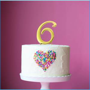Cake Topper Gold No 6 7cm