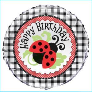 Birthday Ladybug Foil Balloon 45cm