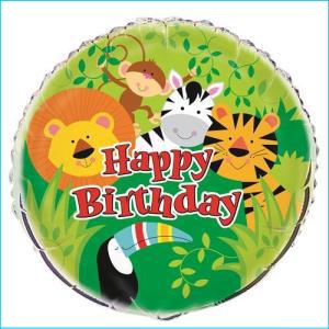 Birthday Jungle Animal Foil Balloon 45cm