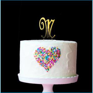 Gold Cake Topper 7cm M