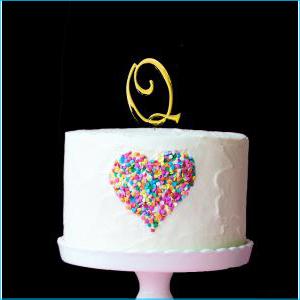 Gold Cake Topper 7cm Q