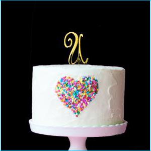 Gold Cake Topper 7cm U