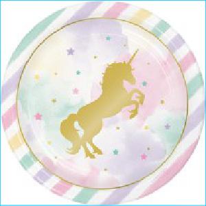Golden Unicorn Party Dinner Plates Pk 8