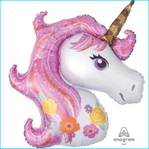 Unicorn Head Pink Floral Foil Super 83cm