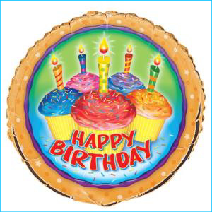 Birthday Cupcake Foil Balloon 45cm