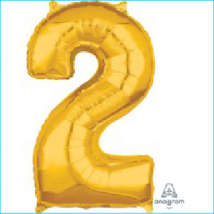 Number 2 Gold Mid Size Shape 66cm