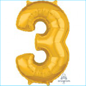 Number 3 Gold Mid Size Shape 66cm