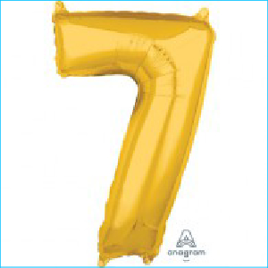 Number 7 Gold Mid Size Shape 66cm